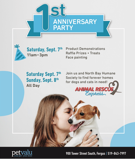 Pet Valu Animal Rescue Express Anniversary Pawty Guelph Humane Society
